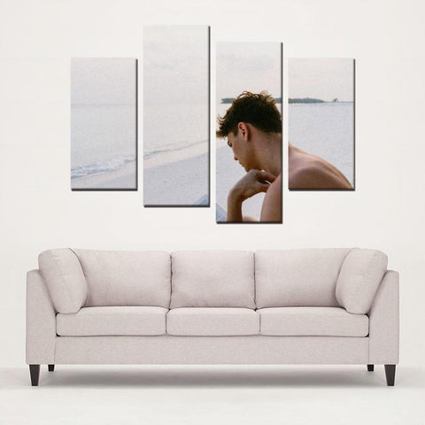 Printy6 Wall art Framed(ready to hang) / Medium 4 Panel Canvas Print Wall Art - Beach Thinker