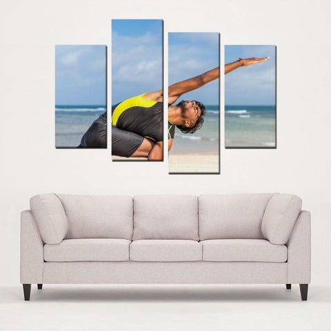 Printy6 Wall art Framed(ready to hang) / Medium 4 Panel Canvas Print Wall Art - Beach Yoga