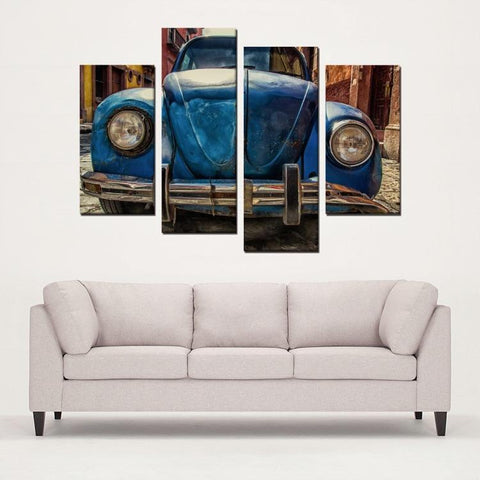 Printy6 Wall art Framed(ready to hang) / Medium 4 Panel Canvas Print Wall Art - Blue Beetle