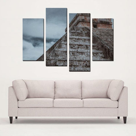 Printy6 Wall art Framed(ready to hang) / Medium 4 Panel Canvas Print Wall Art - Chichen Itza, Mexico