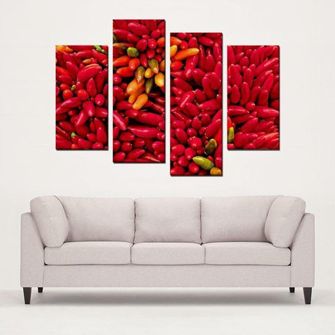 Printy6 Wall art Framed(ready to hang) / Medium 4 Panel Canvas Print Wall Art - Chile Peppers