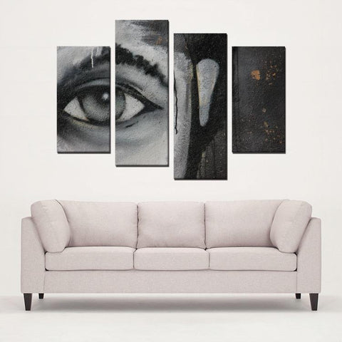 Printy6 Wall art Framed(ready to hang) / Medium 4 Panel Canvas Print Wall Art - Eye