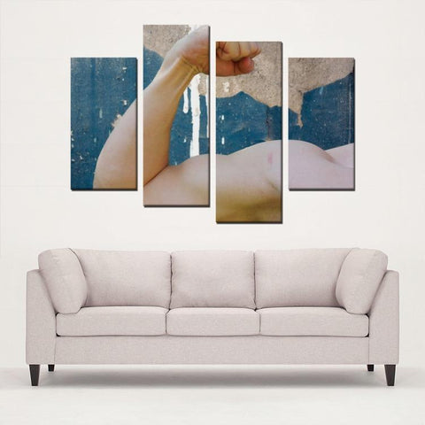 Printy6 Wall art Framed(ready to hang) / Medium 4 Panel Canvas Print Wall Art - Flex