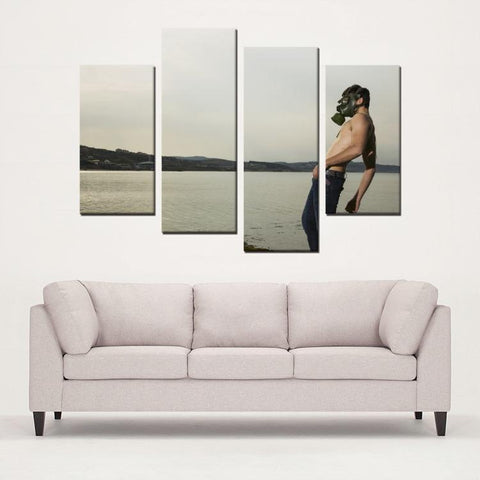 Printy6 Wall art Framed(ready to hang) / Medium 4 Panel Canvas Print Wall Art - Gas Mask