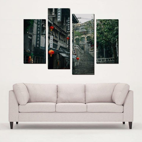 Printy6 Wall art Framed(ready to hang) / Medium 4 Panel Canvas Print Wall Art - Hong Kong