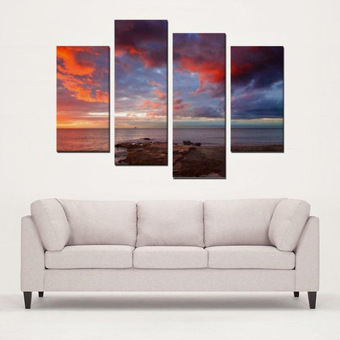 Printy6 Wall art Framed(ready to hang) / Medium 4 Panel Canvas Print Wall Art - Mexican Sunset