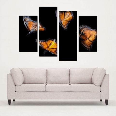 Printy6 Wall art Framed(ready to hang) / Medium 4 Panel Canvas Print Wall Art - Monarchs
