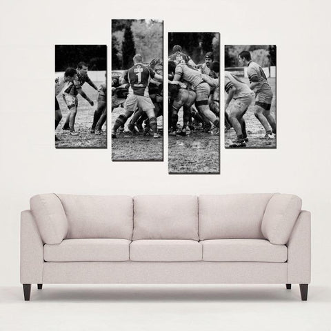 Printy6 Wall art Framed(ready to hang) / Medium 4 Panel Canvas Print Wall Art - Muddy Football