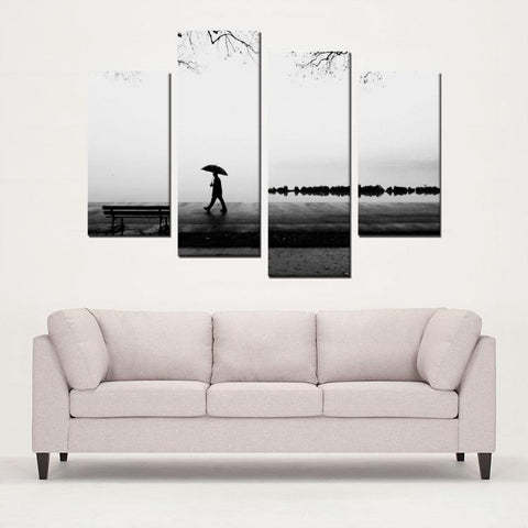 Printy6 Wall art Framed(ready to hang) / Medium 4 Panel Canvas Print Wall Art - Rainy Walk
