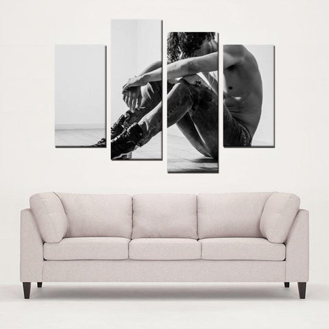 Printy6 Wall art Framed(ready to hang) / Medium 4 Panel Canvas Print Wall Art - Ripped Jeans