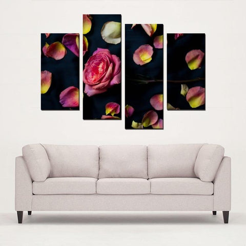 Printy6 Wall art Framed(ready to hang) / Medium 4 Panel Canvas Print Wall Art - Rose Petals