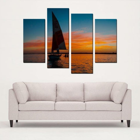 Printy6 Wall art Framed(ready to hang) / Medium 4 Panel Canvas Print Wall Art - Sailboat