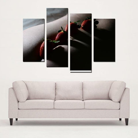 Printy6 Wall art Framed(ready to hang) / Medium 4 Panel Canvas Print Wall Art - Strawberries