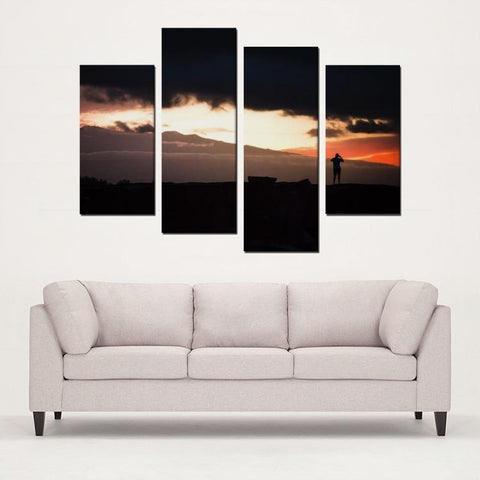 Printy6 Wall art Framed(ready to hang) / Medium 4 Panel Canvas Print Wall Art - Sunset