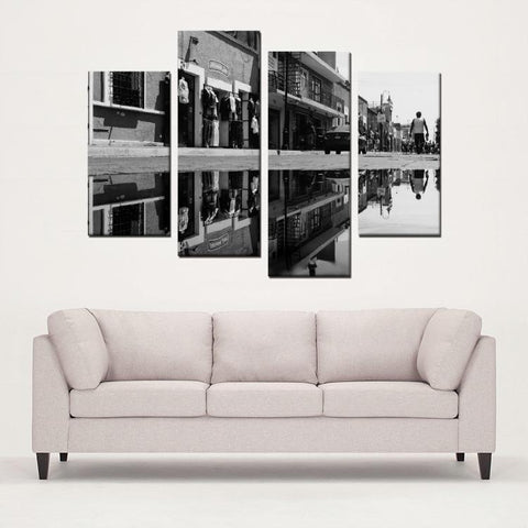 Printy6 Wall art Framed(ready to hang) / Medium 4 Panel Canvas Print Wall Art - Wet Street