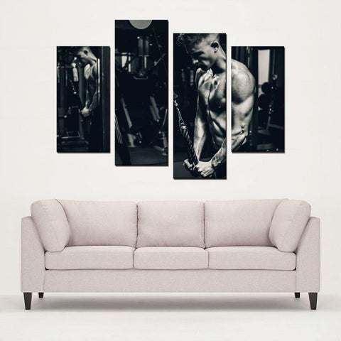 Printy6 Wall art Framed(ready to hang) / Medium 4 Panel Canvas Print Wall Art - Workout