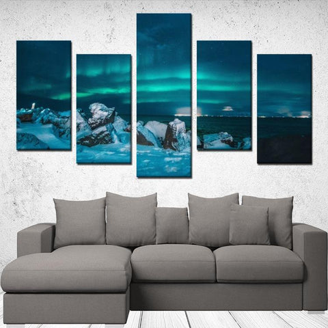 Printy6 Wall art Framed(ready to hang) / Medium 5 Panel Canvas Print Wall Art - Aurora Borealis