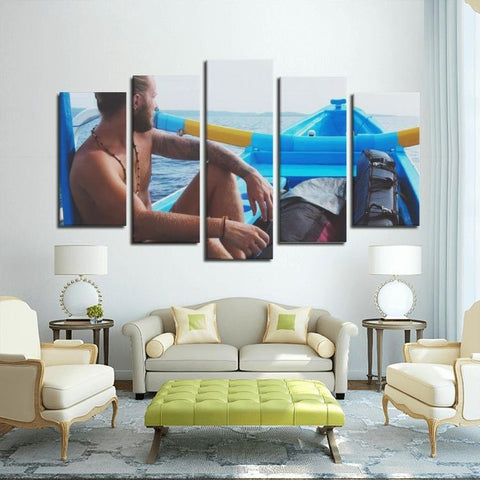 Printy6 Wall art Framed(ready to hang) / Medium 5 Panel Canvas Print Wall Art - Boating