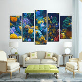Printy6 Wall art Framed(ready to hang) / Medium 5 Panel Canvas Print Wall Art - Coral Reef