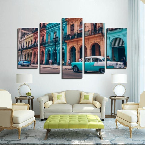 Printy6 Wall art Framed(ready to hang) / Medium 5 Panel Canvas Print Wall Art - Cuba