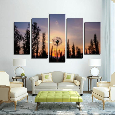Printy6 Wall art Framed(ready to hang) / Medium 5 Panel Canvas Print Wall Art - Dandelion Sunset