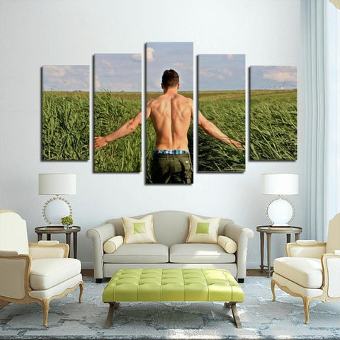 Printy6 Wall art Framed(ready to hang) / Medium 5 Panel Canvas Print Wall Art - Farmer