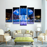 Printy6 Wall art Framed(ready to hang) / Medium 5 Panel Canvas Print Wall Art -  Fountain