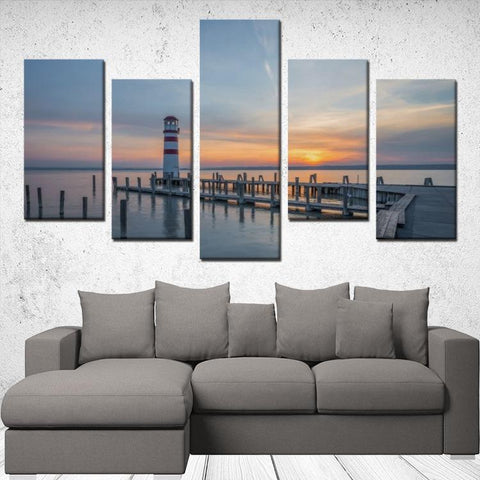 Printy6 Wall art Framed(ready to hang) / Medium 5 Panel Canvas Print Wall Art - Lighthouse