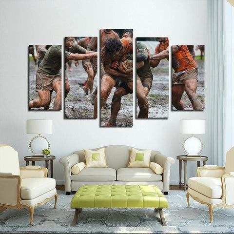 Printy6 Wall art Framed(ready to hang) / Medium 5 Panel Canvas Print Wall Art - Muddy Football