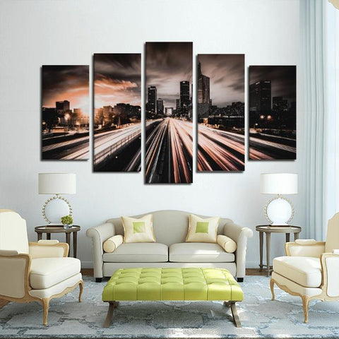 Printy6 Wall art Framed(ready to hang) / Medium 5 Panel Canvas Print Wall Art - Outskirts