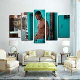 Printy6 Wall art Framed(ready to hang) / Medium 5 Panel Canvas Print Wall Art - Pool Shower