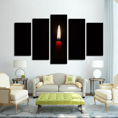 Printy6 Wall art Framed(ready to hang) / Medium 5 Panel Canvas Print Wall Art - Red Candle