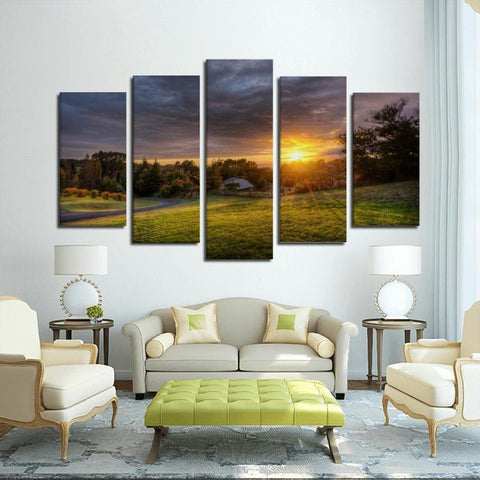 Printy6 Wall art Framed(ready to hang) / Medium 5 Panel Canvas Print Wall Art - Sunrise Field