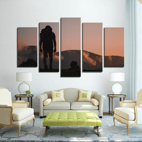 Printy6 Wall art Framed(ready to hang) / Medium 5 Panel Canvas Print Wall Art - Sunrise Hike