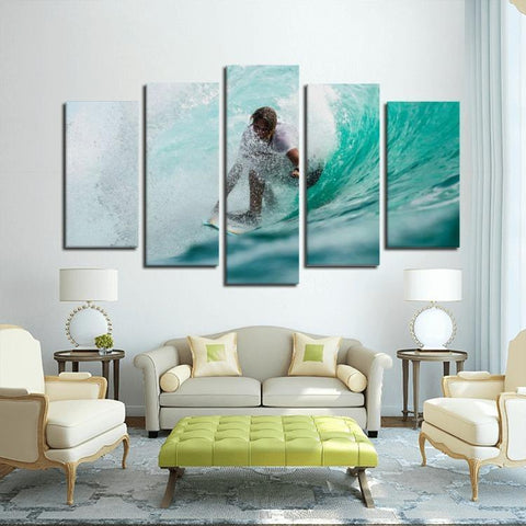 Printy6 Wall art Framed(ready to hang) / Medium 5 Panel Canvas Print Wall Art - Surfer
