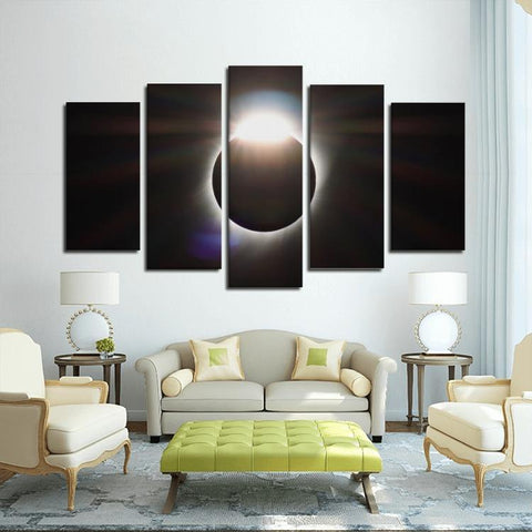 Printy6 Wall art Framed(ready to hang) / Medium 5 Panel Canvas Print Wall Art - Total Eclipse