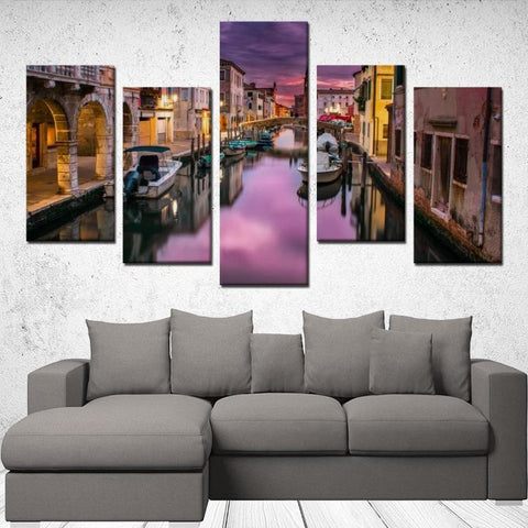 Printy6 Wall art Framed(ready to hang) / Medium 5 Panel Canvas Print Wall Art - Venice