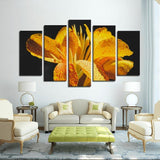 Printy6 Wall art Framed(ready to hang) / Medium 5 Panel Canvas Print Wall Art - Yellow Iris