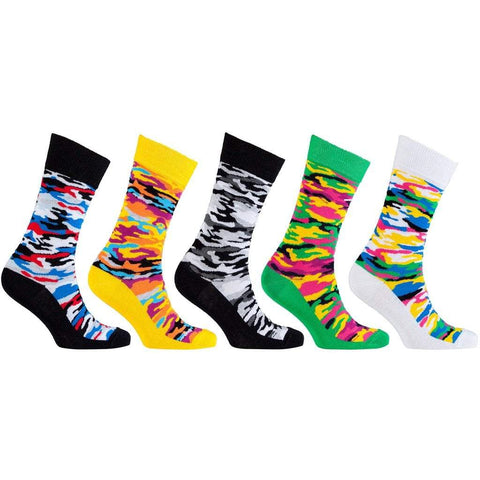 Socks n Socks Men - Apparel - Lingerie and Sleepwear - Socks 5 Pair Colorful Patterned Socks