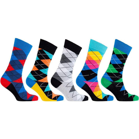 Socks n Socks Men - Apparel - Lingerie and Sleepwear - Socks 5 Pair Funky Argyle Socks