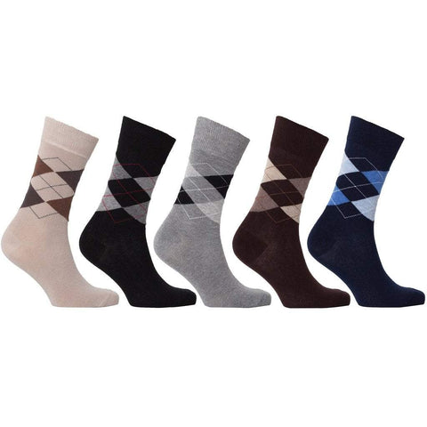 Socks n Socks Men - Apparel - Lingerie and Sleepwear - Socks Maletropolis Basics - 5 Pair Classic Argyle Socks