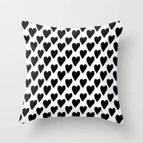 Spocket Home & Garden Black And White Hearts Cushion/Pillow