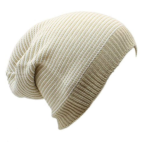 Sun Ben Inc. Men - Accessories - Hats Beige and White Stripe Striped Slouchy Beanie Hat - 9 Colors