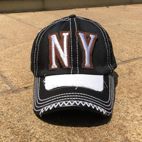 Sun Ben Inc. Men - Accessories - Hats Black NY Distressed Baseball Cap