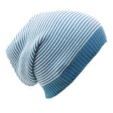 Sun Ben Inc. Men - Accessories - Hats Blue and White Stripe Striped Slouchy Beanie Hat - 9 Colors