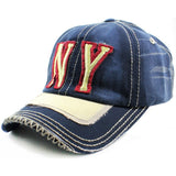Sun Ben Inc. Men - Accessories - Hats Blue NY Distressed Baseball Cap