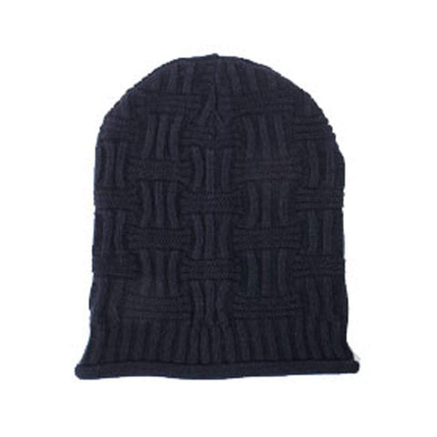 Basket Weave Slouchy Beanie Hat- Black