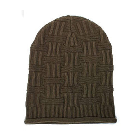 Sun Ben Inc. Men - Accessories - Hats Default Title Basket Weave Slouchy Beanie Hat - Brown