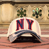 Sun Ben Inc. Men - Accessories - Hats Khaki NY Distressed Baseball Cap
