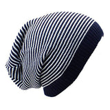 Sun Ben Inc. Men - Accessories - Hats Navy Blue and White Stripe Striped Slouchy Beanie Hat - 9 Colors
